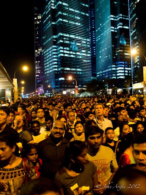 Crowd at the firework Marina Bay Sands Singapore 2012