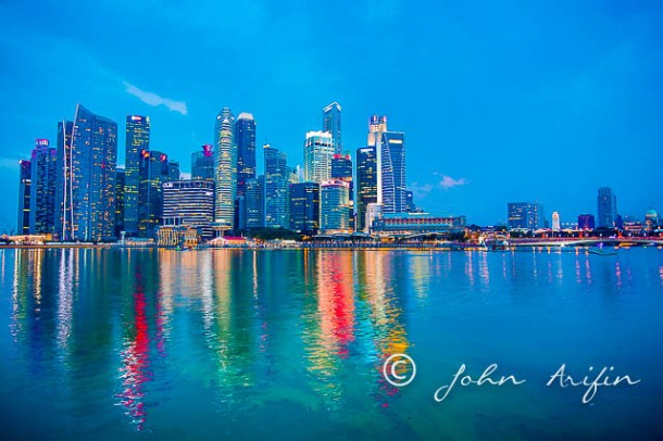 Peaceful and tranquil financial district of Singapore just before the fireworks.Fireworks on Singapore 50th National Day Golden  Jubilee Celebration