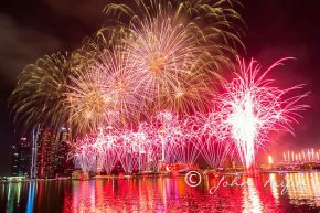 Fireworks on Singapore 50th National Day Golden JubileeCelebration