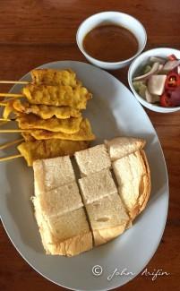 Satay with toasted bread Bangkok